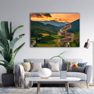 Rice Field On Terraces Panoramic Canvas - Street Signs Customized With Names - 0.75& 1.5 In Framed -Wall Decor, Canvas Wall Art
