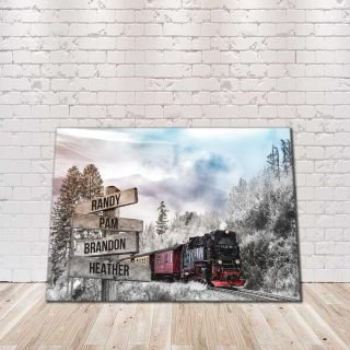 Personalized Train Road Premium Canvas- Street Signs Customized With Names- 0.75 & 1.5 In Framed -Wall Decor, Canvas Wall Art