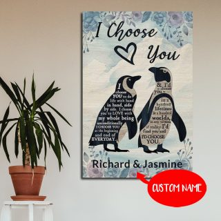 Personalized Penguins I Choose You To Do Life With Hand In Hand Side By Side 0.75 In & 1.5 In Framed Canvas -Home Decor, Canvas Wall Art