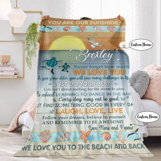 Personalized You Are My Sunshine Never Forget How Much We Love You Blanket From Dad and Mom- Best Gifts for Daughter/ Son