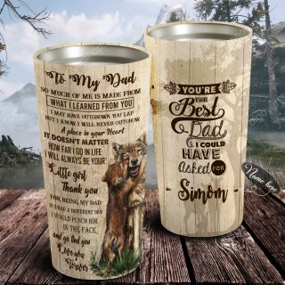 Free Shipping Worldwide- To My Dad - Wolf Heart - Personalized Tumbler- Father's Day Gift, Dad Tumbler, Dad Cup, Best Dad Gift