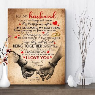 To My Husband You Are My Always And Forever 0.75 & 1.5 In Framed Canvas - Wall Decor, Canvas Wall Art