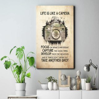 Life Is Like A Camera Focus On What's Important Framed Canvas- Canvas Wall Art - 0.75 & 1.5 In Framed -Wall Decor