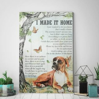 Boxer Dog - I Made It Home, I Just Wanted To Let You Know, That I Made It Home 0.75 In & 1.5 In Framed -Wall Decor, Canvas Wall Art