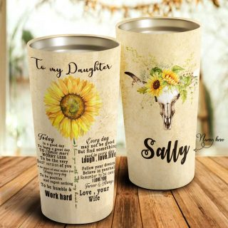 To My Daughter Tumbler- Sunflower Personalized Mugs -Sunflower and Cow- Daughter Gift- Best Gift for Daughter