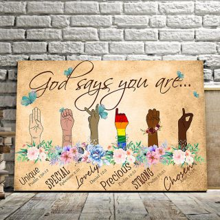 Humanity Includes LGBT, Apartheid – God Say You Are Unique, Special And Lovely 0.75 and 1,5 Framed Canvas - Home Decor - Canvas Wall Art