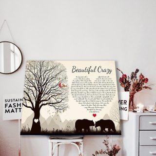 Beautiful Crazy Song Lyric Luke Combs - Couple Bear Canvas- 0.75 & 1.5 In Framed - Wall Decor, Canvas Wall Art