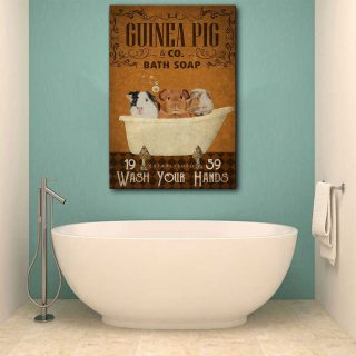 Guinea Pig Bath Soap Wash Your Hands Canvas- 0.75 & 1.5 In Framed - Bathroom Decor- Home Decor, Canvas Wall Art