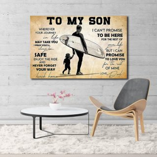To My Son Wherever Your Journey In Life May Take You – Dad And Son Canvas- 0.75 & 1.5 In Framed - Home Living -Wall Decor, Canvas Wall Art