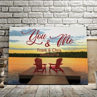 Personalized Relaxing Sunset Lake Life You and Me We Got This Framed Canvas -0.75 & 1.5 In Framed -Wall Decor, Canvas Wall Art