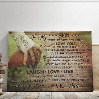 Football Dad and Son - To My Son Never Forgot How Much I Love You Canvas Wall Art - 0.75 In & 1.5 In Framed -Wall Decor, Canvas Wall Art