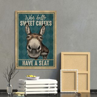 Funny Donkey Why Hello Sweet Cheeks Have A S - 0.75 & 1.5 In Framed -Wall Decor, Canvas Wall Art