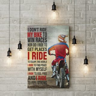 I Don't Ride My Bike To Win Races I Ride To Feel Free and Strong 0.75 & 1.5 In Framed Canvas -Home Living - Wall Decor, Canvas Wall Art