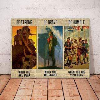 Boy Scout Be Strong Be Humble Be Badass 0.75 & 1.5 In Framed Canvas -Gift Idea - Home Decor, Wall Art