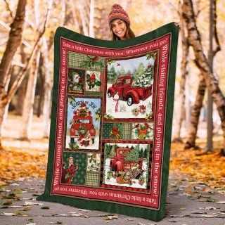 Vintage Red Truck Take A Little Christmas With You Wherever You Go Holiday Fleece Blanket - Christmas Best Gifts -Baby Blanket- Family Gifts