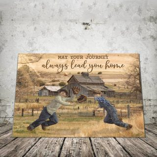 Baseball May Your Journey Always Lead You Home 0.75 & 1.5 In Framed Canvas - Wall Decor,Canvas Wall Art