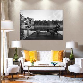 Personalized Black-White Lake View with Chair 0.75 & 1.5 In Framed Canvas -Street Signs Customized With Names - Wall Decor,Canvas Wall Art