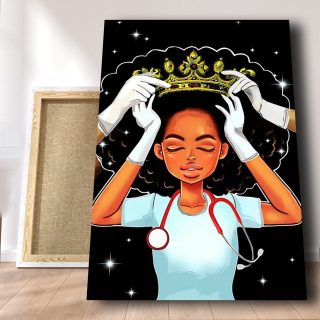Medical Assistants Deserve The Crown Canvas- African American Girl- 0.75 & 1.5 In Framed Canvas - Home Wall Decor, Wall Art