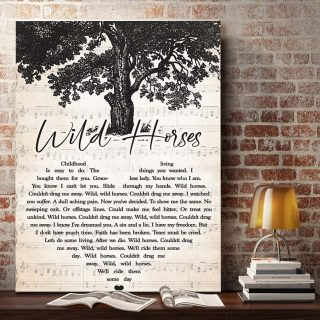 Wild Horse Lyric Song- Childhood Living Is Easy To Do Graceless Lady 0.75 & 1.5 In Framed Canvas - Home Decor, Canvas Wall Art