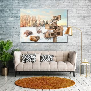 Beautiful Winter Multi-Names Premium Canvas - Family Street Signs Customized With Names- 0.75 & 1.5 In Framed -Wall Decor, Canvas Wall Art