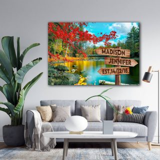 Autumn On The Stream Multi-Names Canvas - Family Street Signs Customized With Names- 0.75 & 1.5 In Framed -Wall Decor, Canvas Wall Art
