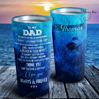 To My Dad - Fish Waves - Personalized Tumbler- Father's Day Gift, Dad Tumbler, Dad Cup, Best Dad Gift