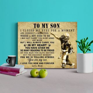 To My Son I Closed My Eyes For A Moment And Suddenly A Man Stands Framed Canvas - 0.75 & 1.5 In Framed -Wall Decor, Canvas Wall Art
