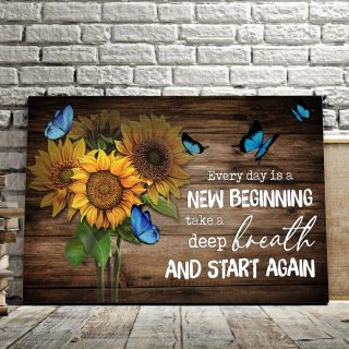 Sunflower and Butterfly Every Day is a New Beginning Canvas - 0.75 & 1.5 In Framed -Wall Decor, Canvas Wall Art