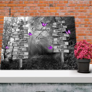 Street Signs Customized With Family Names - Black and White Forest Road Sunset 0.75 & 1.5 In Framed Canvas - Wall Decor,Canvas Wall Art