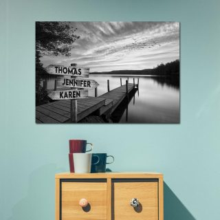 Lake Sunset Multi-Names Canvas - Family Street Signs Customized With Names- 0.75 & 1.5 In Framed -Wall Decor, Canvas Wall Art