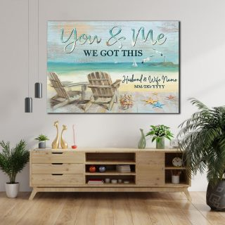 Personalized You and Me With Names and Anniversary Canvas -0.75 & 1.5 In Framed -Wall Decor, Canvas Wall Art