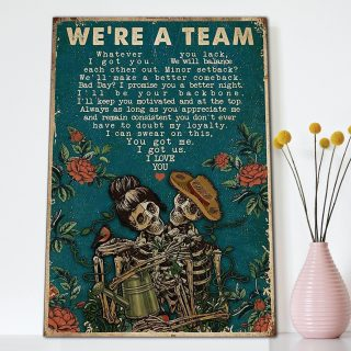 Skeleton Gardening We're A Team- Couple Canvas- 0.75 & 1.5 In Framed Canvas - Home Wall Decor, Wall Art