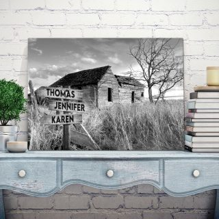 Sunset At The Farm Multi-Names Canvas - Family Street Signs Customized With Names- 0.75 & 1.5 In Framed -Wall Decor, Canvas Wall Art