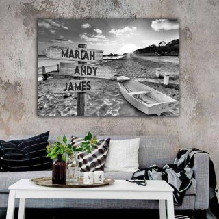 Sunset At The Beach Multi-Names Canvas - Family Street Signs Customized With Names- 0.75 & 1.5 In Framed -Wall Decor, Canvas Wall Art