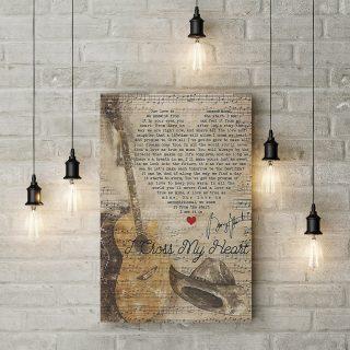George Strait I Cross My Heart Lyrics 0.75 & 1.5 In Framed Canvas -Home Living - Wall Decor, Canvas Wall Art