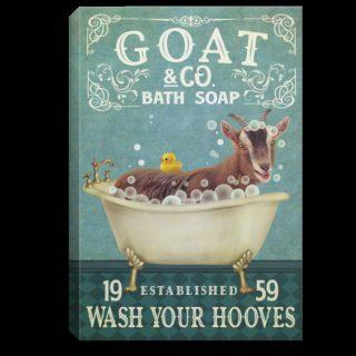 Goat Co Bath Soap Wash Your Hooves Established 1959 Framed Canvas - 0.75 & 1.5 In Framed -Wall Decor, Canvas Wall Art