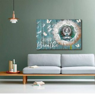 Woman Meditating With Dandelion Flower And Butterfly Canvas - Memorial Canvas- 0.75 & 1.5 In Framed -Wall Decor, Canvas Wall Art