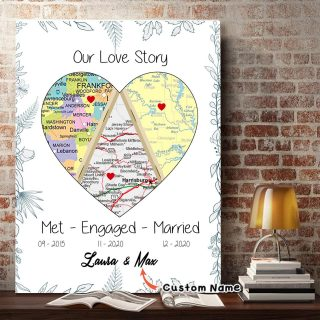 Personalized Our Love Heart Map Print Married Anniversary Wedding Gift - 0.75 & 1.5 In Framed Canvas - Home Decor- Wall Art
