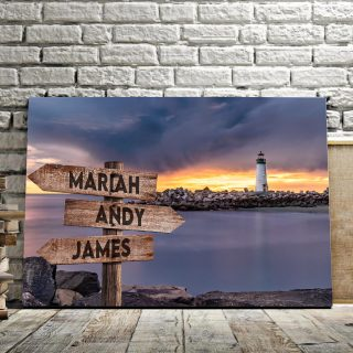 Lighthouse Multi-Names Canvas - Family Street Signs Customized With Names- 0.75 & 1.5 In Framed -Wall Decor, Canvas Wall Art