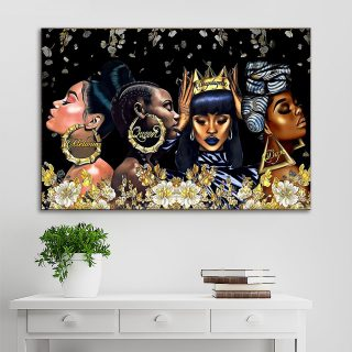 Beautiful Black Woman Dope – Black Queen, Pride Black Women And Gold Flower Canvas -0.75 & 1.5 In Framed -Wall Decor, Canvas Wall Art