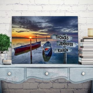 Boat And Sunset Multi-Names Canvas - Family Street Signs Customized With Names- 0.75 & 1.5 In Framed -Wall Decor, Canvas Wall Art
