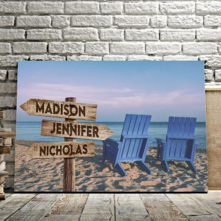 Romantic Beach Multi-Names Canvas - Family Street Signs Customized With Names- 0.75 & 1.5 In Framed -Wall Decor, Canvas Wall Art