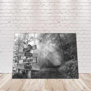 Black and White Forest Road Sunset 0.75 & 1.5 In Framed Canvas -Street Signs Customized With Names - Wall Decor,Canvas Wall Art