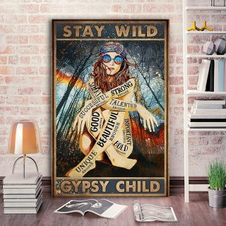 Eccentric Girl In The Forest – Stay Wild Gypsy Child Canvas- 0.75 & 1.5 In Framed - Home Decor, Wall Art