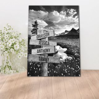 Personalized Flying Birds Multi-Names Premium Canvas -Street Signs Customized With Names- 0.75 & 1.5 In Framed -Wall Decor, Canvas Wall Art