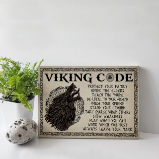 Wolf Viking Code Protect Your Family Honor The Elders Teach The Young Framed Canvas - Ideas Gifts- Home Living- Wall Decor, Canvas Wall Art