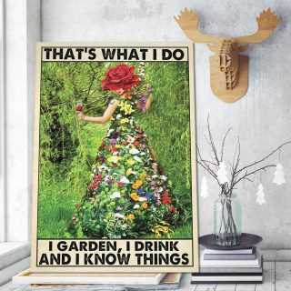 That's What I Do I Garden I Drink And I Know Things Canvas - 0.75 & 1.5 In Framed - Home Decor, Canvas Wall Art