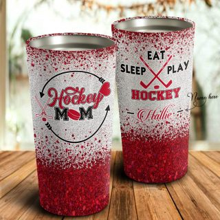 Personalized Hockey Mom- Eat Sleep Play Tumblerr- Mother's Day Gift, Mom Tumbler, Mom Cup, Best Mom Gift