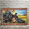 Racer With Golden Retriever – Time Spent With Motorcycles And Dogs Is Never Wasted 0.75 & 1.5 In Framed - Home Decor- Canvas Wall Art
