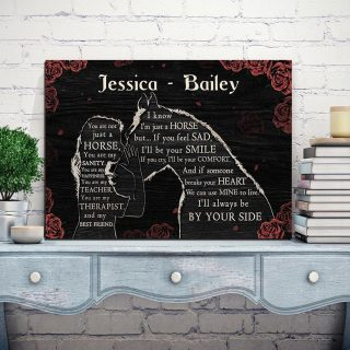 Personalized Girl Loves Horse – You Are Not Just A Horse, You Are My Sanity 0.75 & 1.5 In Framed Canvas - Home Decor, Canvas Wall Art